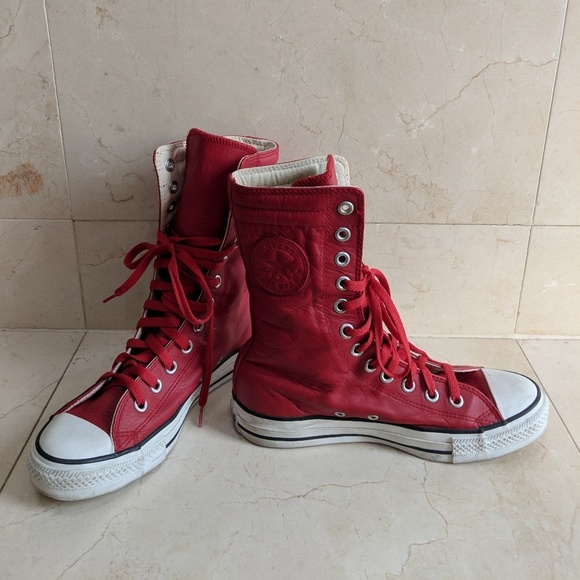 e679cbc8e70930 Converse Shoes - CONVERSE All-Star X-Hi High Top Red Leather Shoes!
